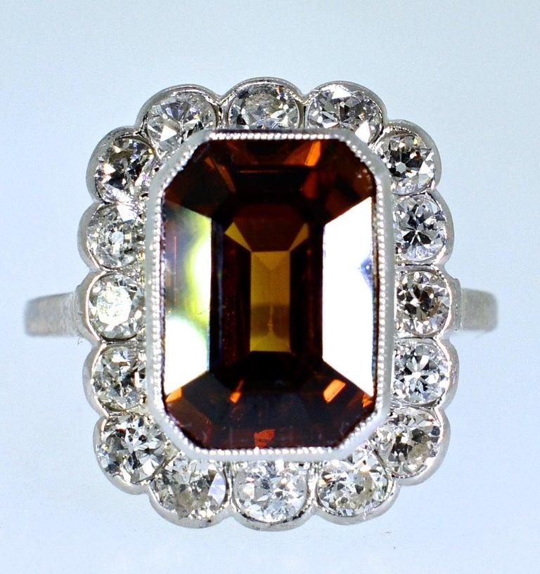 Women's or Men's Platinum, Diamond and Natural Emerald Cut Zircon Ring, circa 1919 For Sale