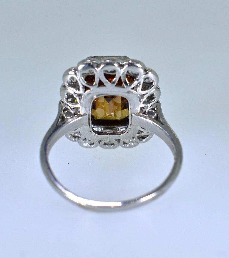 Platinum, Diamond and Natural Emerald Cut Zircon Ring, circa 1919 For Sale 1