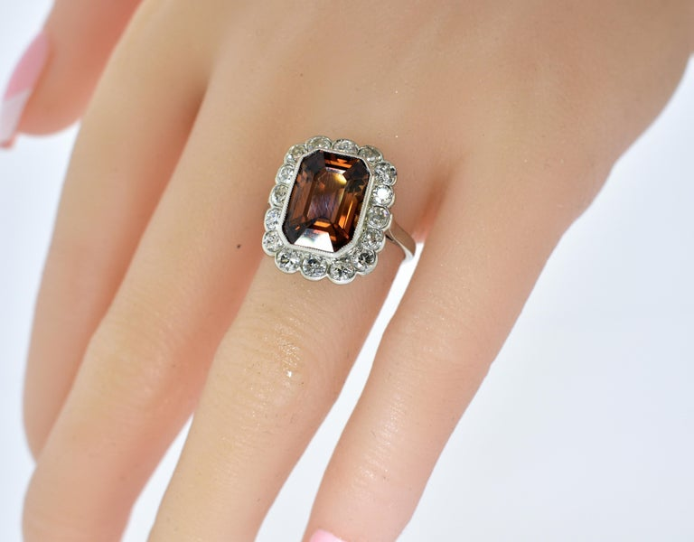 Platinum, Diamond and Natural Emerald Cut Zircon Ring, circa 1919 For Sale 2