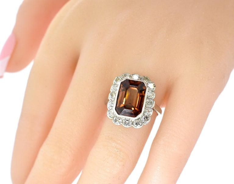 Platinum, Diamond and Natural Emerald Cut Zircon Ring, circa 1919 For Sale 3