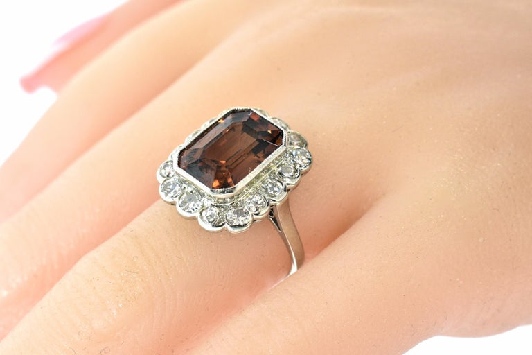 Platinum, Diamond and Natural Emerald Cut Zircon Ring, circa 1919 For Sale 4