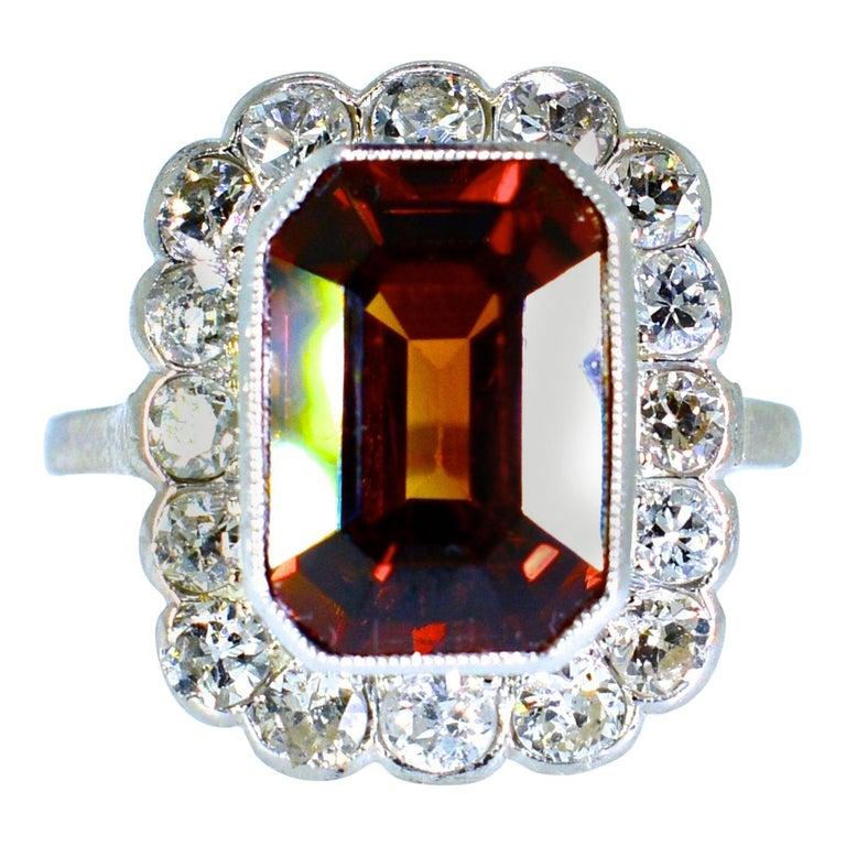Platinum, Diamond and Natural Emerald Cut Zircon Ring, circa 1919 For Sale