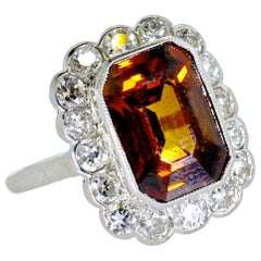 Platinum, Diamond and Natural Emerald Cut Zircon Ring, circa 1919