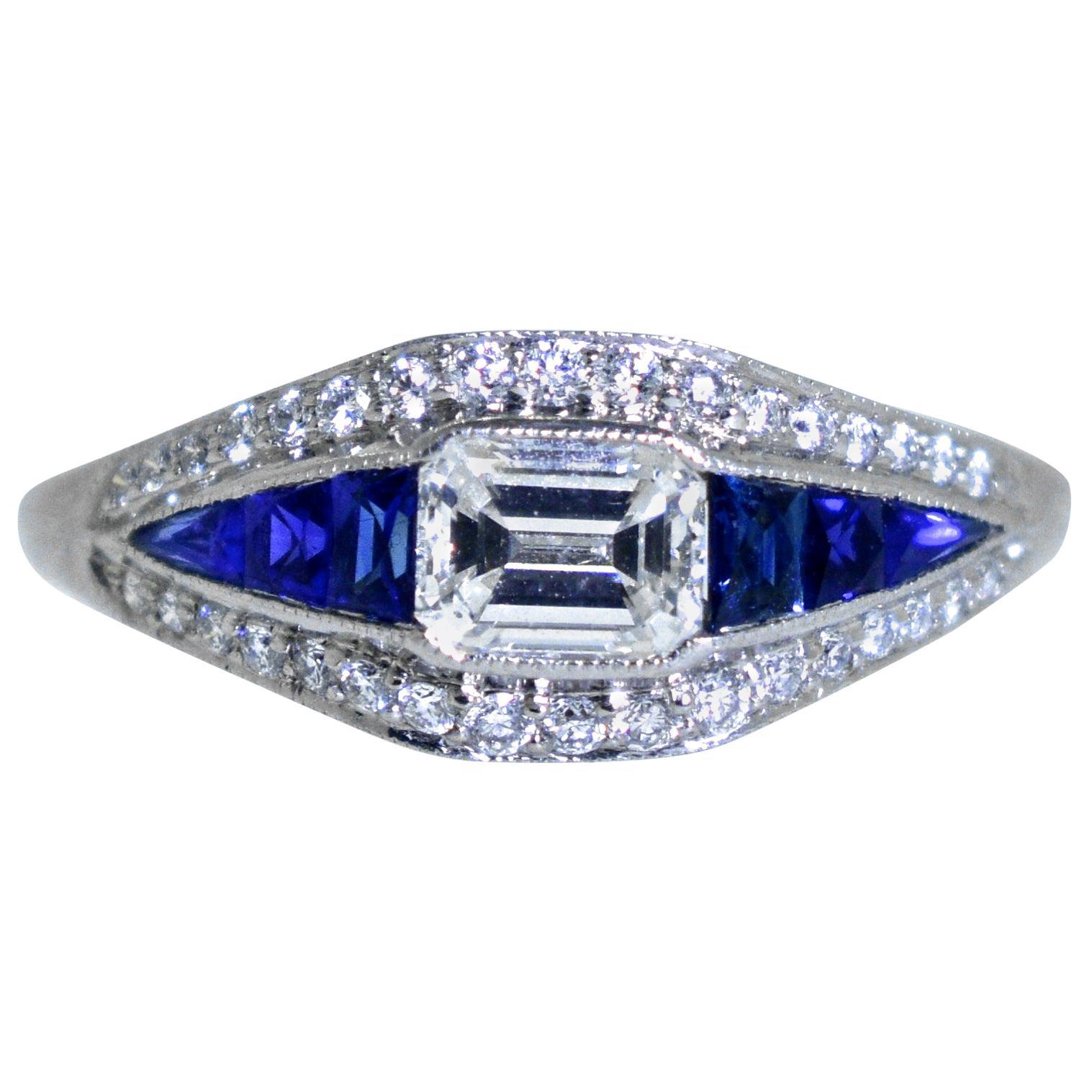 Platinum, Diamond and Natural Fancy Cut Fine Sapphire Ring