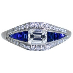 Platinum, Diamond and Natural Fancy Cut Fine Sapphire Ring