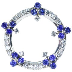 Platinum, Diamond and Natural Sapphire Brooch, circa 1950