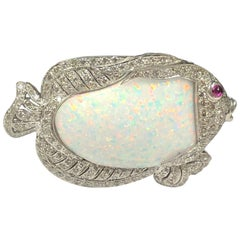 Platinum Diamond and Opal Large Fish Pendant