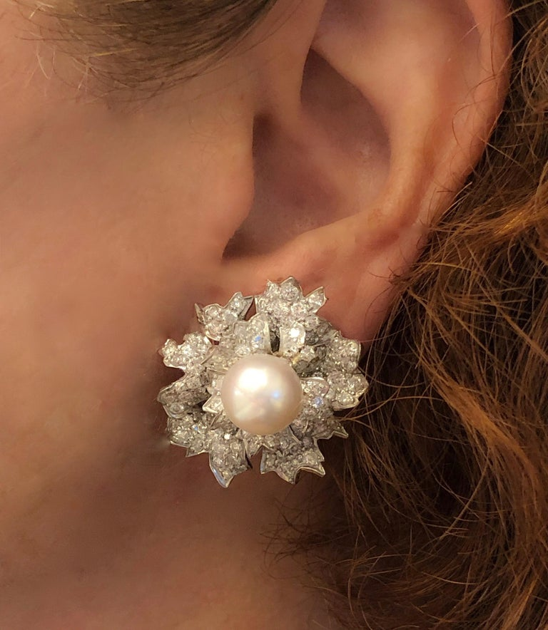 Women's Platinum Diamond and Pearl Earrings by David Webb For Sale