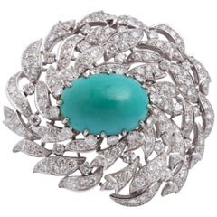 Platinum Diamond and Persian Turquoise Brooch