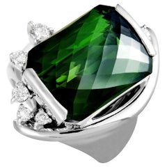 Platinum Diamond and Rectangle Tourmaline Ring