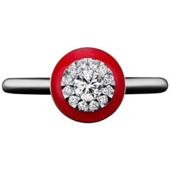 Platinum Diamond and Red Ceramic Ring