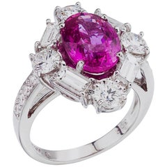 Platinum Diamond and 4.08 Carat Royal Pink Sapphire  Ring