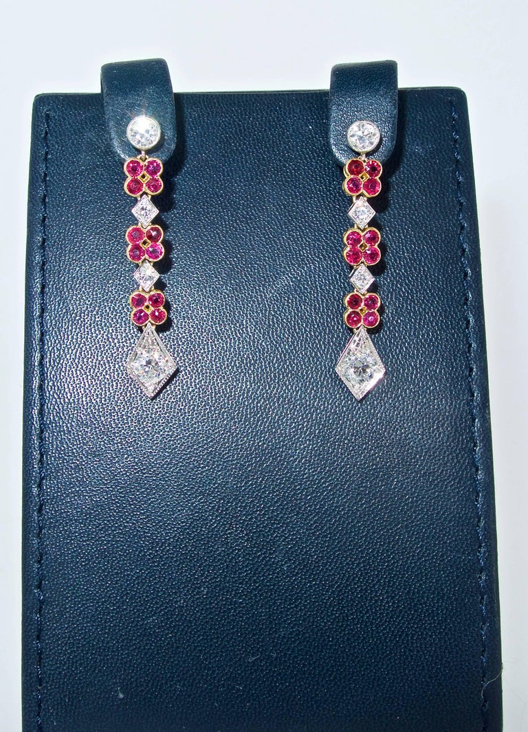 Art Deco Platinum, Diamond and Ruby Earrings, Early 20th Century For Sale