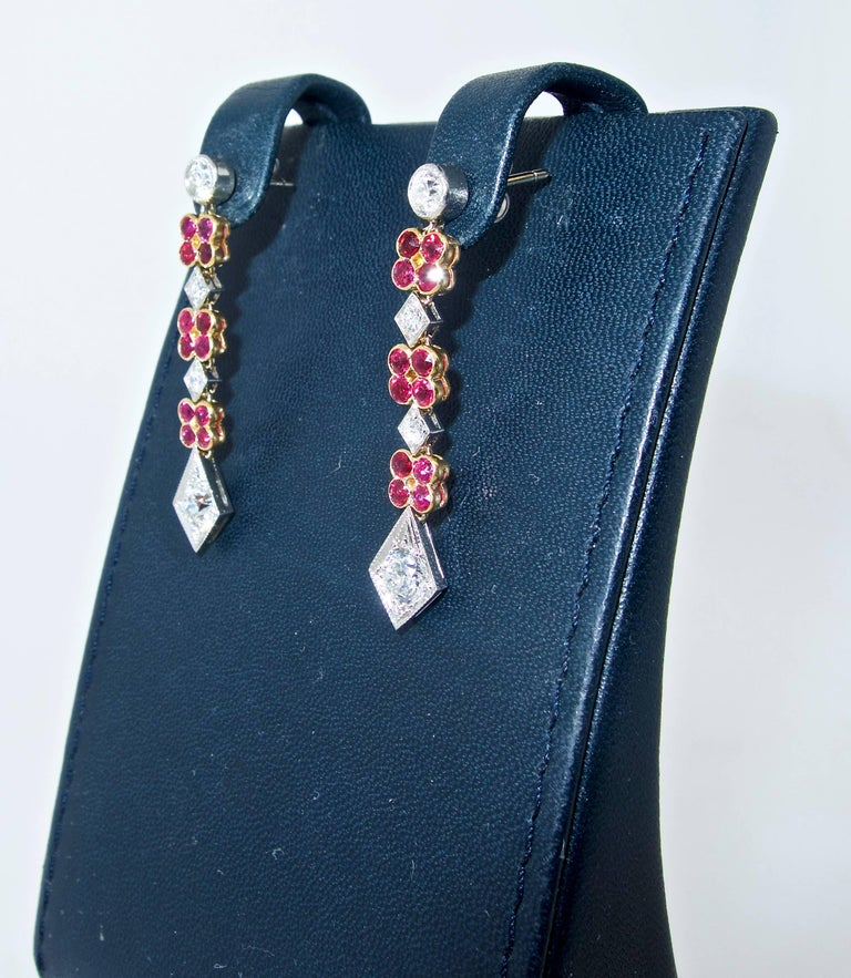 Platinum, Diamond and Ruby Earrings, Early 20th Century In Excellent Condition For Sale In Aspen, CO