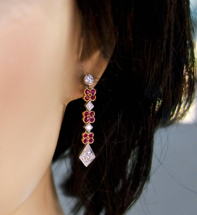 Platinum, Diamond and Ruby Earrings, Early 20th Century For Sale 1