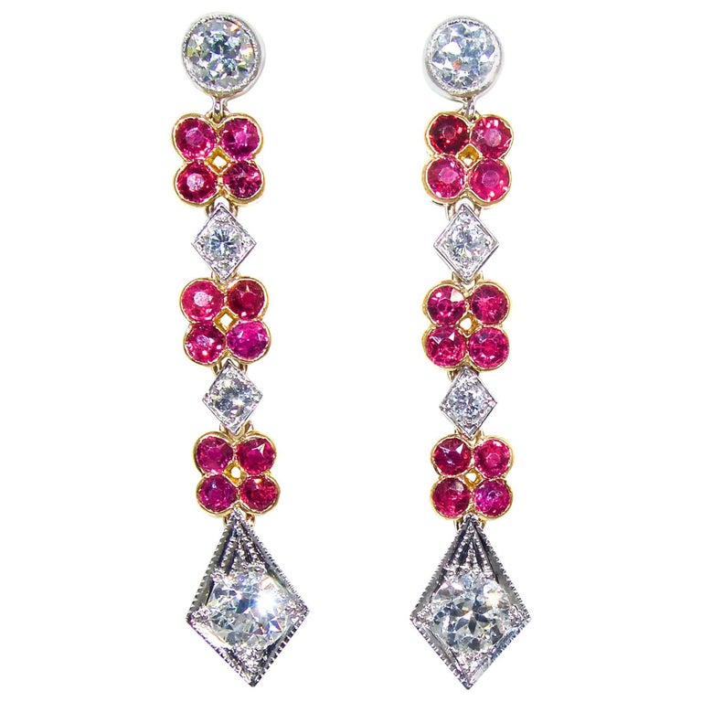 Platinum, Diamond and Ruby Earrings, Early 20th Century For Sale