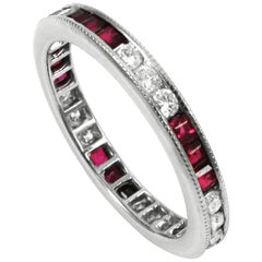 Platinum Diamond and Ruby Eternity Band