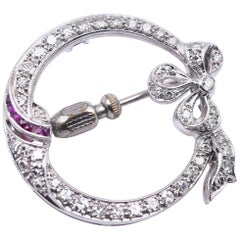 Platinum Diamond and Ruby Victorian Bow Pin