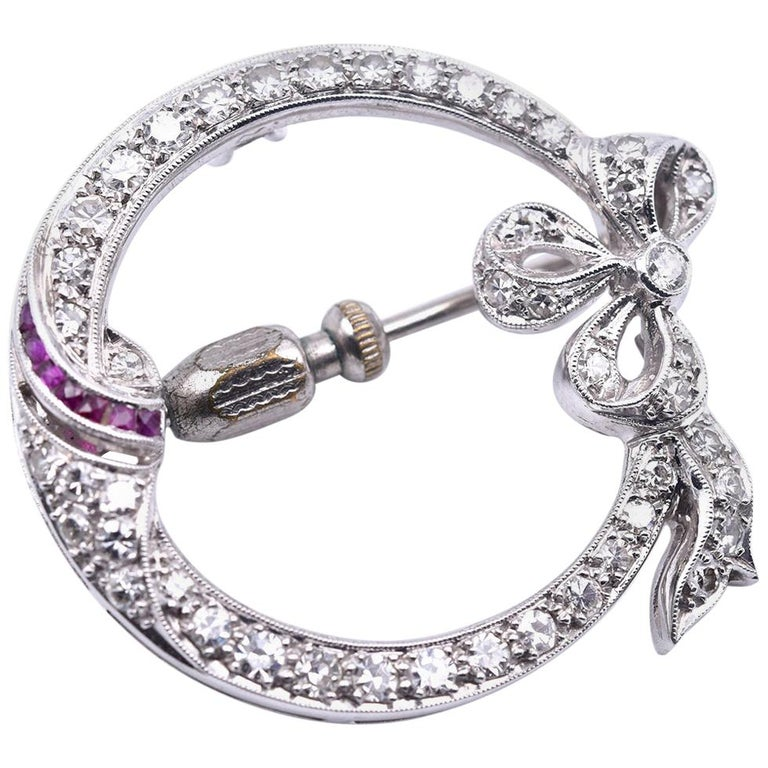Platinum Diamond and Ruby Victorian Bow Pin For Sale