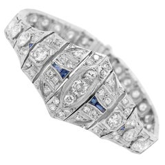 Platinum, Diamond and Sapphire Bracelet