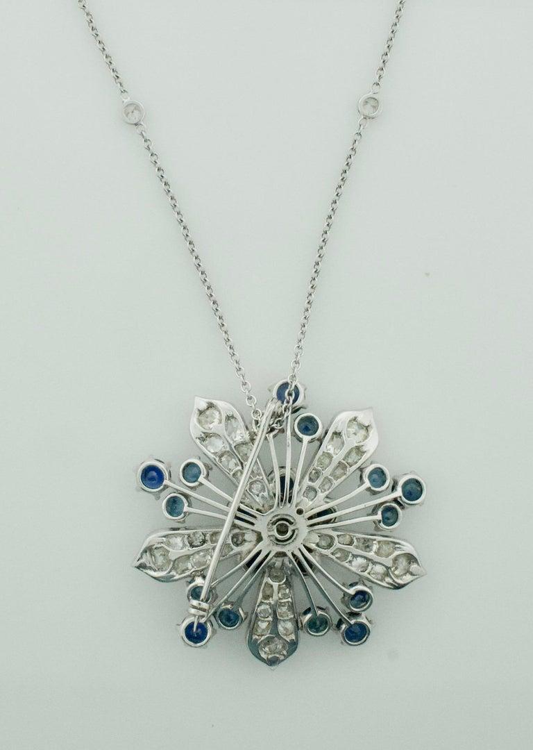 Platinum Diamond and Sapphire Brooch, Necklace circa 1920s 6.85 Carat For Sale 7