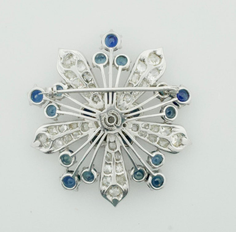 Platinum Diamond and Sapphire Brooch, Necklace circa 1920s 6.85 Carat In Excellent Condition For Sale In Wailea, HI