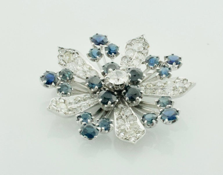Women's or Men's Platinum Diamond and Sapphire Brooch, Necklace circa 1920s 6.85 Carat For Sale