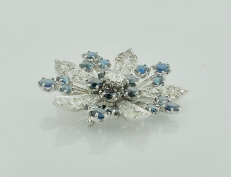 Platinum Diamond and Sapphire Brooch, Necklace circa 1920s 6.85 Carat For Sale 1