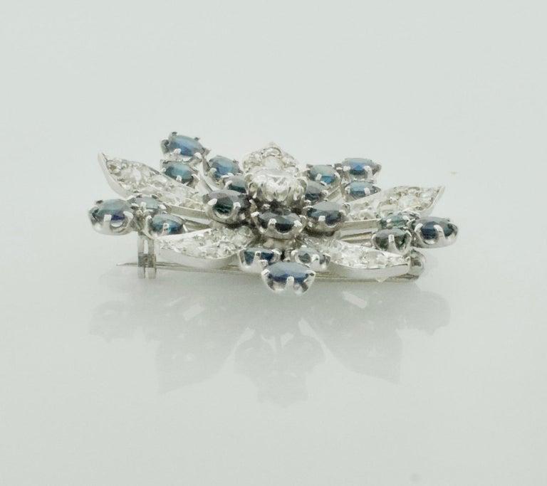 Platinum Diamond and Sapphire Brooch, Necklace circa 1920s 6.85 Carat For Sale 2