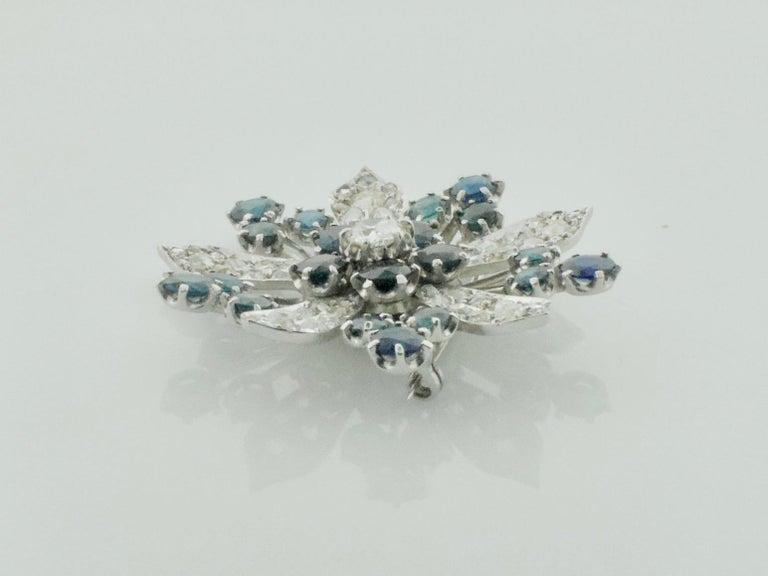 Platinum Diamond and Sapphire Brooch, Necklace circa 1920s 6.85 Carat For Sale 3