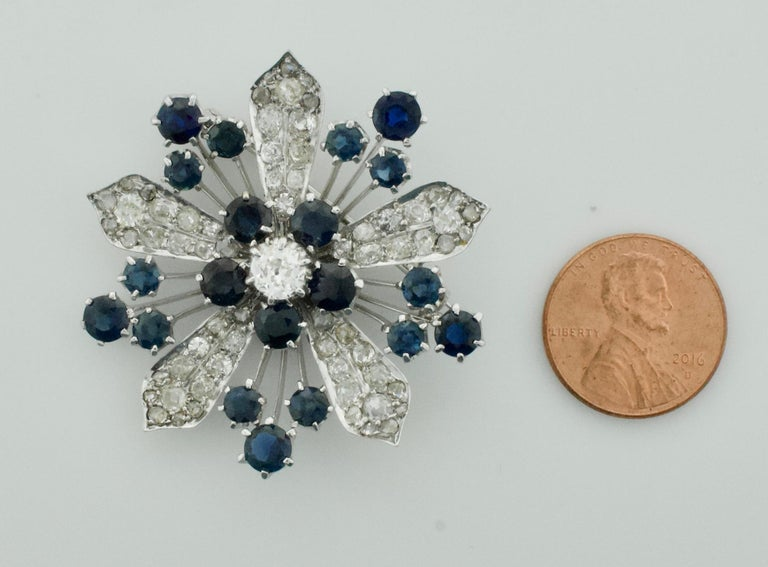 Platinum Diamond and Sapphire Brooch, Necklace circa 1920s 6.85 Carat For Sale 4