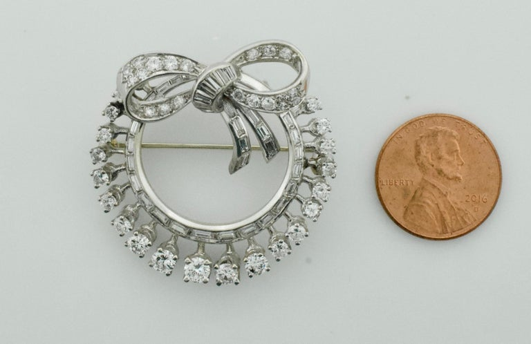 Platinum Diamond and Sapphire Brooch, Necklace circa 1920s 6.85 Carat For Sale 5