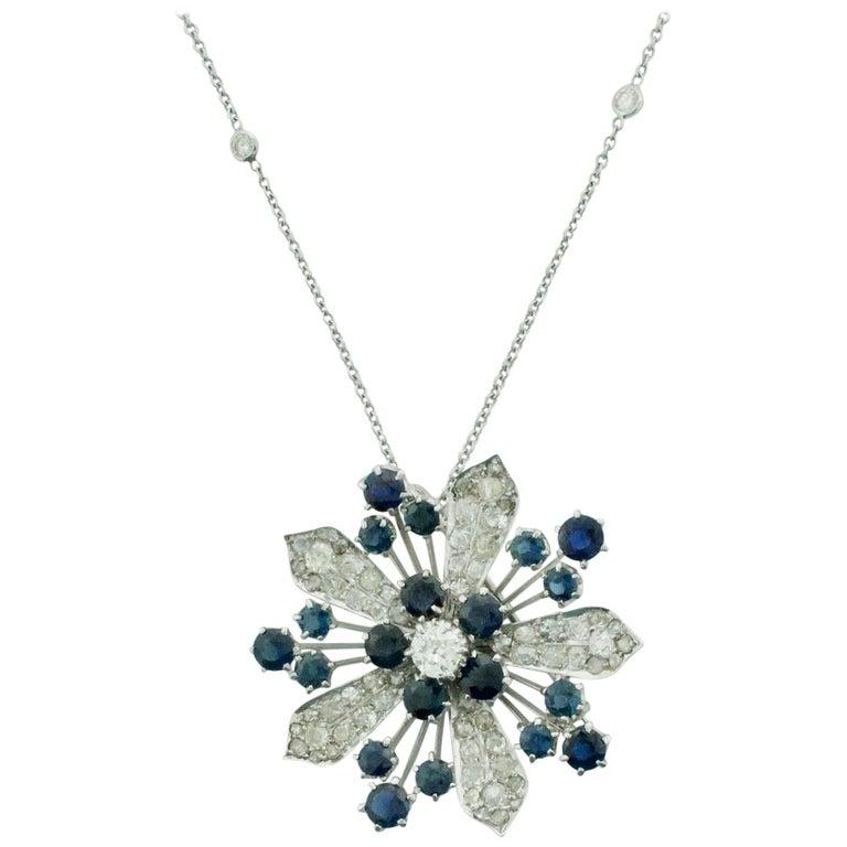 Platinum Diamond and Sapphire Brooch, Necklace circa 1920s 6.85 Carat For Sale