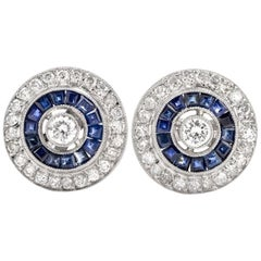 Platinum Diamond and Sapphire Button Style Halo Stud Earrings