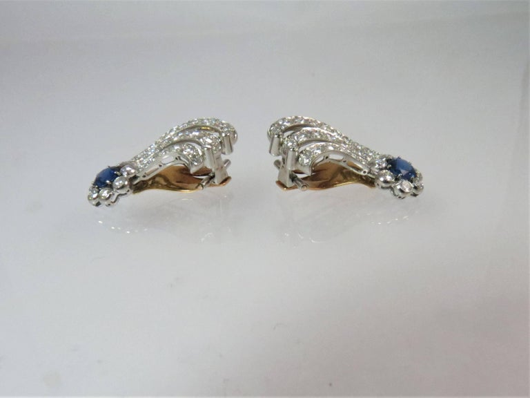 Round Cut Platinum Diamond and Sapphire Ear Clips For Sale