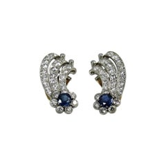 Platinum Diamond and Sapphire Ear Clips