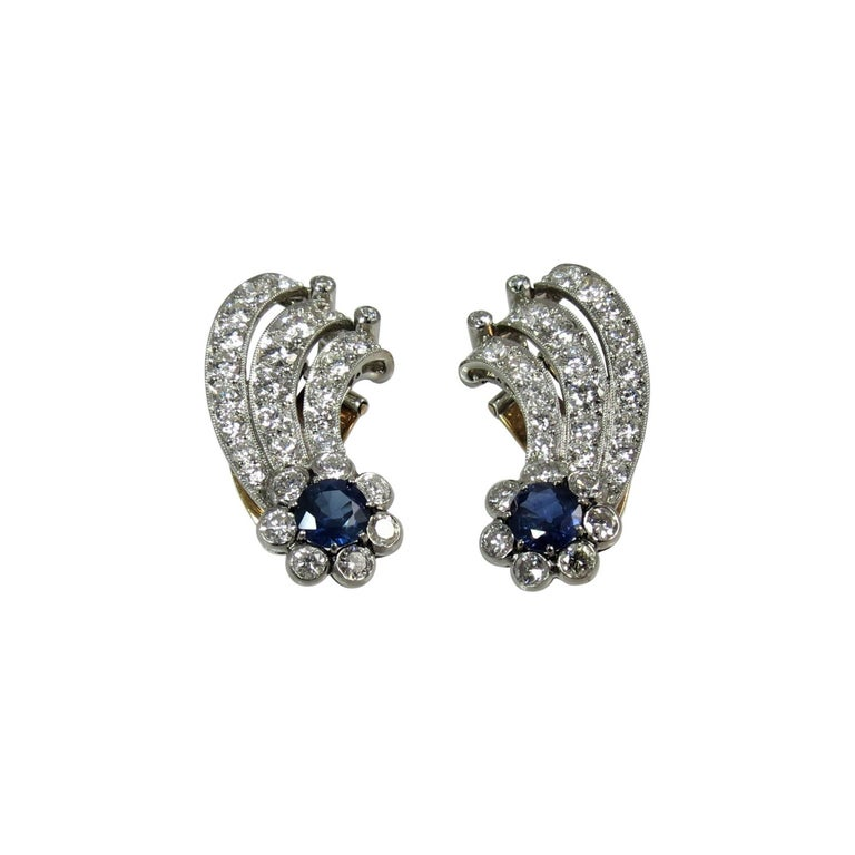 Platinum Diamond and Sapphire Ear Clips For Sale