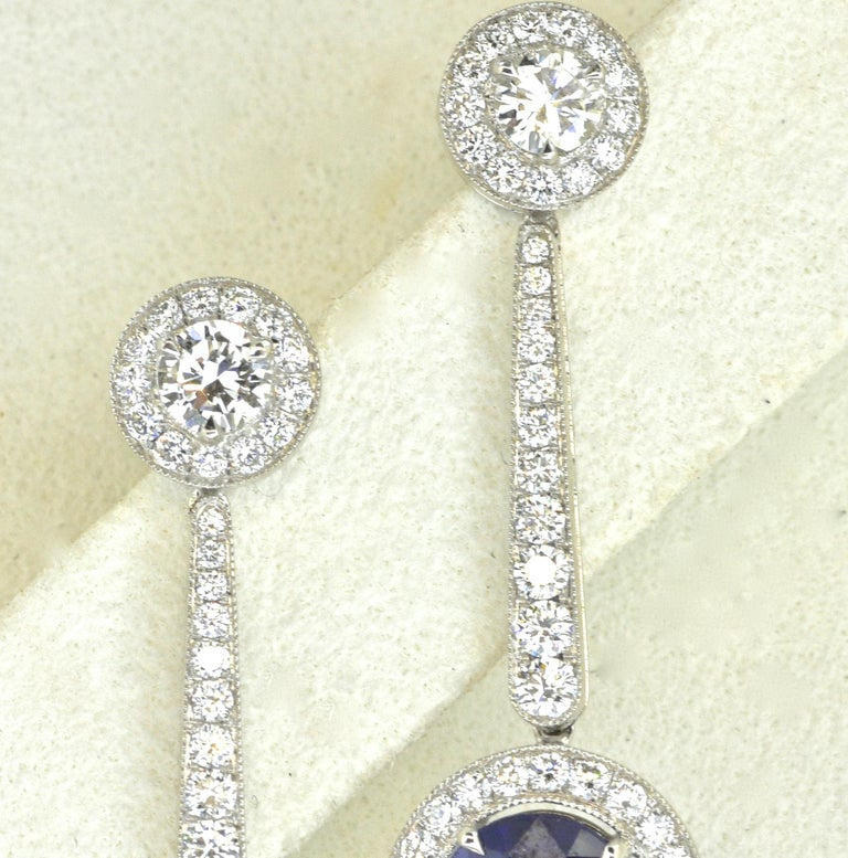 Contemporary Platinum, Diamond and Sapphire Earrings by Pierre/Famille, Inc. For Sale