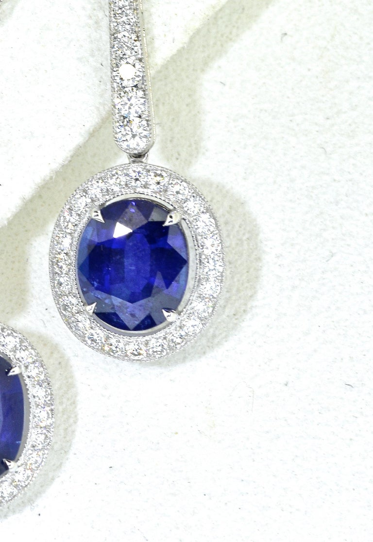 Brilliant Cut Platinum, Diamond and Sapphire Earrings by Pierre/Famille, Inc. For Sale