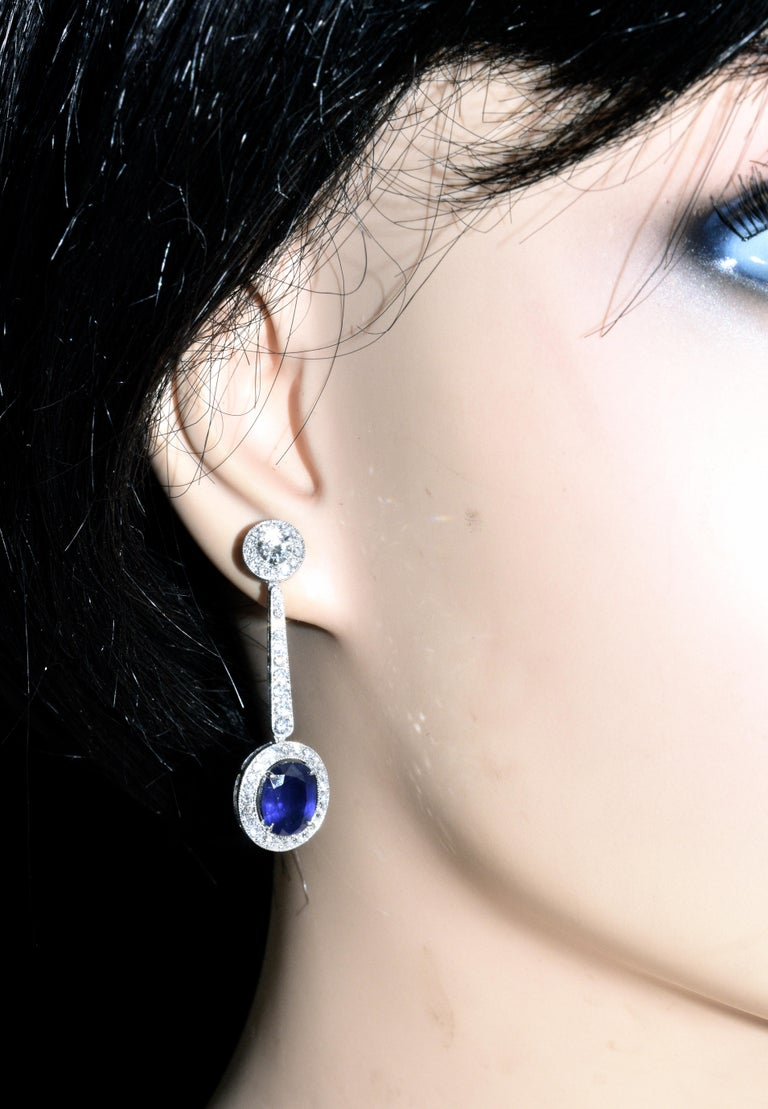 Platinum, Diamond and Sapphire Earrings by Pierre/Famille, Inc. In New Condition For Sale In Aspen, CO