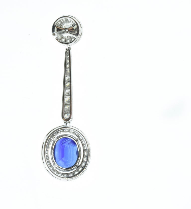Women's or Men's Platinum, Diamond and Sapphire Earrings by Pierre/Famille, Inc. For Sale