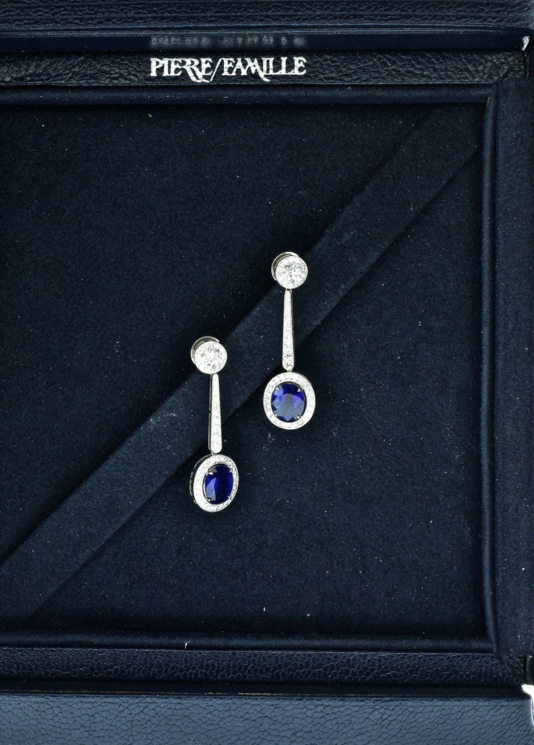 Platinum, Diamond and Sapphire Earrings by Pierre/Famille, Inc. For Sale 1