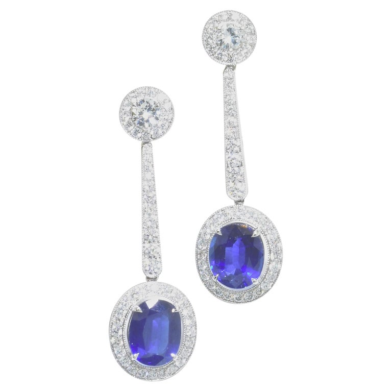 Platinum, Diamond and Sapphire Earrings by Pierre/Famille, Inc. For Sale