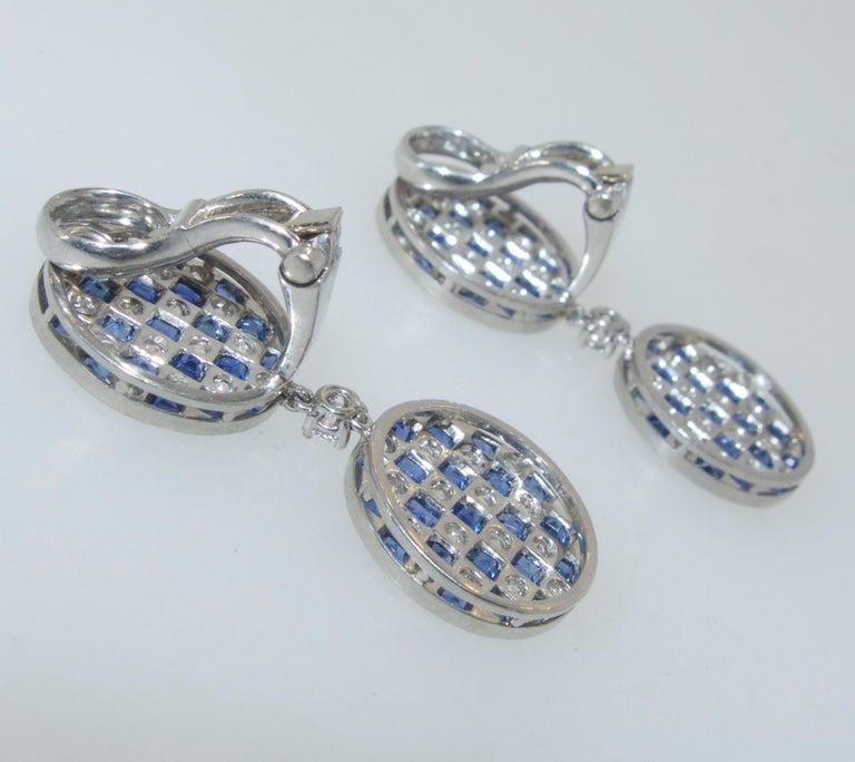 Contemporary Platinum, Diamond and Sapphire Earrings For Sale