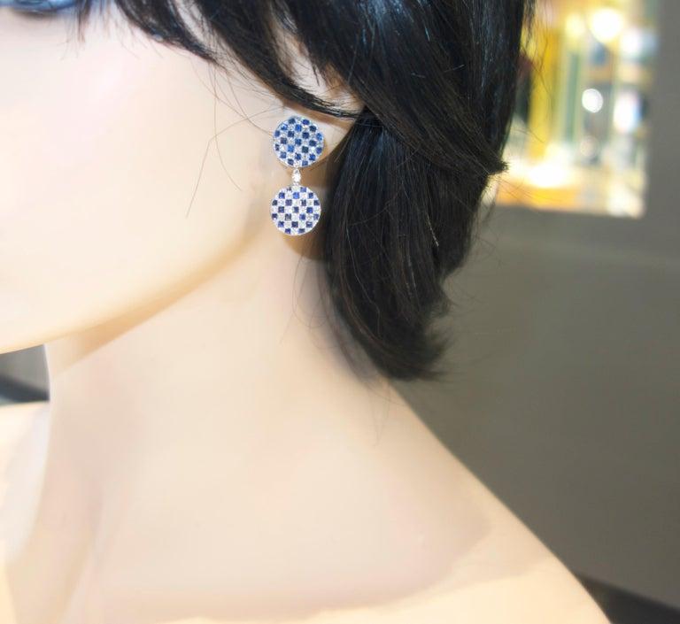 Women's or Men's Platinum, Diamond and Sapphire Earrings For Sale