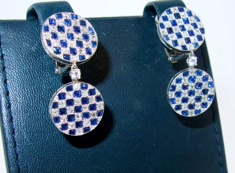 Platinum, Diamond and Sapphire Earrings For Sale 1