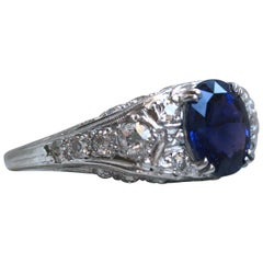 Platinum Diamond and Sapphire Engagement Ring with AGL Certificate, 4.50 Carat