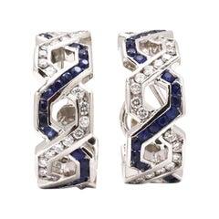 Platinum Diamond and Sapphire Huggie Hoop Earrings