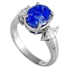 Platinum Diamond and Sapphire Oval Ring