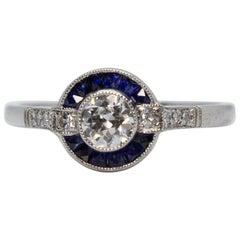 Platin Diamant und Saphir Ring